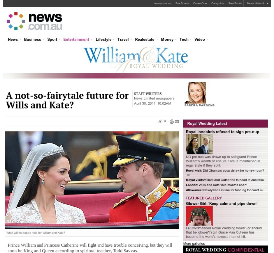 News.com.au – Royal Wedding 21/09/2014