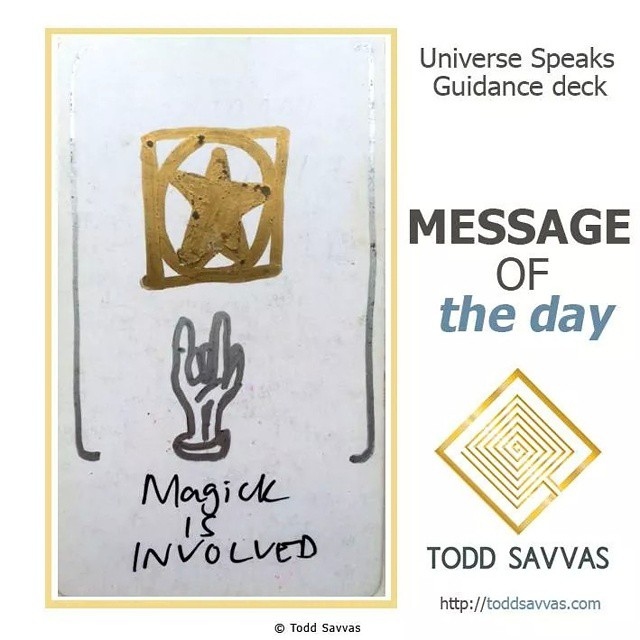"""Today's message is the affirmation that your intentions and magickal desires were successfully sent out into the Universe days ago. What do you observe?  MESSAGE OF THE DAY: """"MAGICK IS INVOLVED""""  Whatever is happening for you today is a direct response to the past few days of mental streamlining, exercising and auditing.  You can continue to amplify this energy today by consciously doing something magickal. Setting an intention. Lighting a candle. Burning some incense. Whatever feels appropriate to you, for you, will be a wonderful way to tune into the abundant energy on offer.  Magick is having an effect on your life today. So, make sure it's working for you.  Find more posts, rituals and information on private sessions on my website.  http://facebook.com/ToddSavvasTeaching  Let Todd know how this applies to you in the comments below :) #magick #spirit #source #consciousness #universe #astrology #tarot #intention #incense #mind #wonder #happiness #joy #meditation #occult #occultism #wicca #witchcraft #mysticism #egypt #gods #goddesses #oprah #ellen #toddsavvas #psychic #sage #HEALER"""